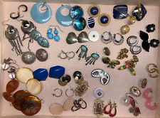 Junk Drawer Lot Pairs Earrings Most Wearable Or For Projects Plastic Metal