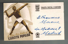1938 Spain Civil War Postcard Cover to Madrid Physical Culture Peoples Army