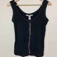 MNG Mango Women's Top XS Black Ruffle Sequin Tank Knit Embellished Sleeveless