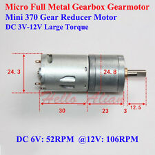 Micro Full Metal GearBox 370 Gear Reducer Motor DC 3V-12V 106RPM Large Torque
