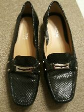 Geox Respira D BLACK Grin Women's Leather Loafers Animal Print Look SZ 39