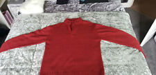 "Mens Red Round Neck Knitted Jumper With Part Zip Size Large 44""Chest Very Good C"