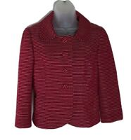 Ann Taylor Womens Tweed Jacket Blazer Red White Chalk Stripe Buttons Peplum Crop