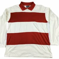 Vtg Single Stitch Long Sleeve Rugby Polo Cabin Creek Red Striped Waldo Preppy L