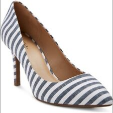 Women's Merona Alexis Pointed Toe Blue Stripe Pumps Heels Shoes NEW! Size 12