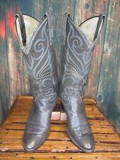 Ladies Dan Post Gray Leather Western Cowboy Boots sz: 7 A *narrow*