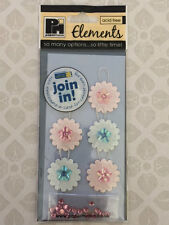 NEW 6x 3D STICKERS - PINK & BLUE FLOWER TAGS WITH GEMS - Birthday Cardmaking