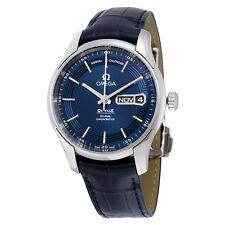 Omega De Ville Hour Vision Blue Dial Blue Leather Strap Mens Watch