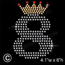 Eighth Birthday Rhinestone/Diamante Transfer Hotfix Ironon Motif with Free Gift