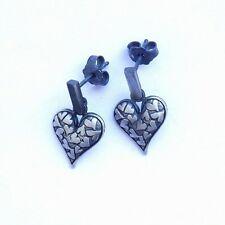 UNIQUE EARRINGS  STUDS * HEARTS RETRO * STERLING SILVER 925 HAND MADE JEWELRY