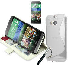 WHITE Wallet & Gel 4in1 Accessory Bundle Kit Case Cover For HTC ONE M8