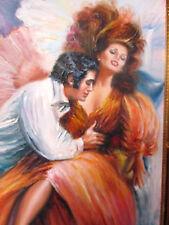 ORIGINAL oil PAINTING Cuban-Amer ARTIST Juan Lopetegui ROMANTIC INTERLUDE frame