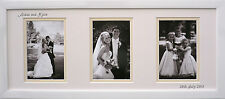 Personalised Framed Name Date Wedding Day Photo 3 Apertures White 20 x 8