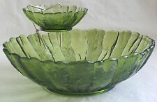 Vintage Anchor Hocking Chip and Dip Set Avocado Green Glass Country Estate