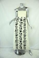 JUICY COUTURE Black+White FLORAL EMBROIDERED Smocked Hippie Maxi Dress S