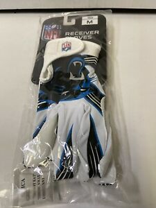 Carolina Panthers NFL Franklin Sports Receiver Gloves White Youth Medium