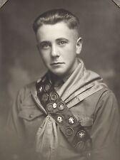 Antique 1920s Photograph Boy Scout Eagle Scout Pin & Merit Badge Sash ID'd RARE