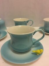 Lot 11 Pc Biscuit 5 Cups and 6 Saucers Lovely Dishes W/Bird Perched on Saucer