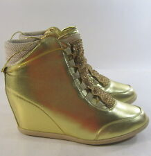 "Womens Gold Rhinestone 3"" Hidden Wedge Heel Sexy Ankle Boot Size 7"