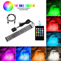 4PCS 48 LED Car Interior USB Charger RGB Atmosphere Lights Strip Remote Control