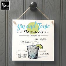 PERSONALISED GIN AND TONIC WALL SIGN - BAR new home best friend sign 246