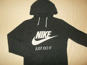 NIKE JUST DO IT DARK GRAY LONG SLEEVE LIGHTWEIGHT HOODIE WOMENS SMALL EXCELLENT