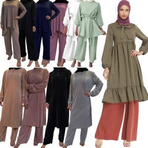 2PCS Women Muslim Sets Long Sleeve Blouse Pants Casual Islamic Prayer Kaftan New