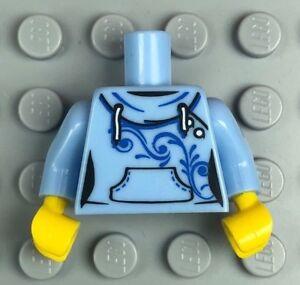 LEGO Female Minifigure Torso Hoodie Kangaroo Pocket Bright Light Blue (x1)