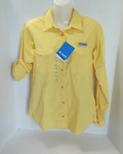 Columbia Women's PFG Bonehead  Long Sleeve Yellow Fishing Button Down Shirt Sz S
