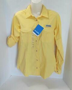 Columbia Women's PFG Bonehead  Long Sleeve Yellow Fishing Button Down Shirt Sz S
