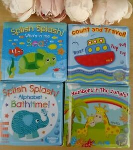 2xBaby Bath Book Educational Toy Alphabet Numbers Sea Animals Padded Plastic 6+m
