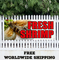 Banner Vinyl FRESH SHRIMP Advertising Sign Flag Seafood Dinner Basket Fresh Food