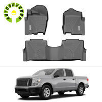 Floor Mats Liners for 2017-2020 Nissan Titan Crew Cab All-Weather Rubber