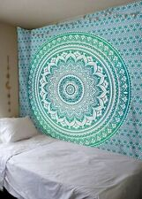 Indian Bohemian Green Ombre Mandala Tapestry Wall Hanging Cotton Bed Cover Twin