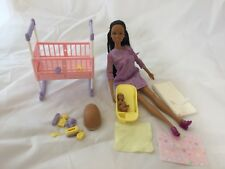 Barbie 2002 Happy Family Pregnant Midge & Baby African American Doll Set