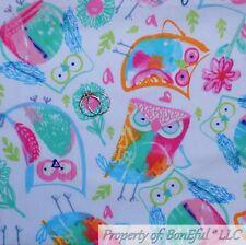 BonEful FABRIC FQ Cotton Quilt VTG White Rain*bow OWL Bird Large Art Picture Kid