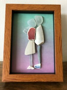 Framed Irish sea glass art ~ Couple Wedding Valentine's Anniversary Ireland gift