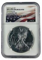2020 1oz Silver Eagle NGC - Brilliant Uncirculated - Flag Label