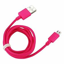 Reiko Braided Data Cable for Micro USB 2.0 Devices for Android/Motorola Hot Pink