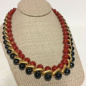 "Vintage 80s Monet ""Haberdashery"" Braided Black Red Bead Necklace Gold Tone"