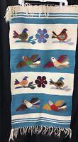 Vintage Southwest FOLK ART WOOL Textile  RUG WALL Hanging BIRDS Floral