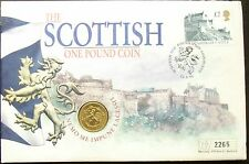 Elizabeth II Scotland 1994 £1 BU Coin Cover Edinburgh Castle Envelope Damaged