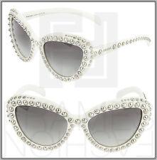 PRADA ORNATE 31Q White Ivory Silver Stud Cat Eye Sunglasses 7S3-0A7 PR31QS