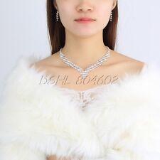 Da Sposa Critalli Strass Collana Di Perle E Orecchini Bracciale Set Di Gioielli