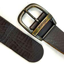 "Wrangler Mens Leather Belt 36 Frame Style Buckle Brown Heavy Duty 32-41"""