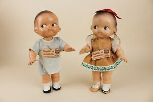 """12"""" Pair of Campbells Kid Dolls by Horsman Composition Original Tags"""