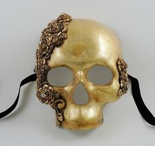 Venetian Paper Mache Skulls and Roses Gold Leaf Mask with Swarovski Crystals