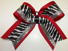 Big Cheer Bow Zebra Red Black Silver Glitz Cheerleader Grosgrain Ponytail Holder