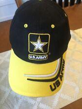 US ARMY baseball hat Mens Cap Flag Black Yellow emb logos 100% Cotton