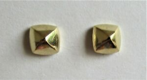 TI SENTO STERLING SILVER GOLD PLATED PYRAMID STUD EARRINGS 925 1.93g (21162)
